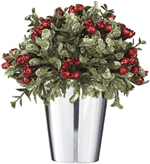 Ganz Kissing Krystals Mistletoe and Berries Topiary in Silver Pot - Christmas Table Centerpiece,Multicolor,6-1/2