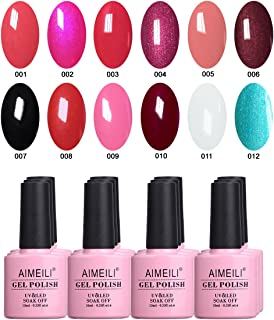 AIMEILI Red Gel Nail Polish Set Soak Off UV LED Gel Polish Multicolour/Mix Colour/Combo Colour Of 12pcs X 10ml - Kit 1
