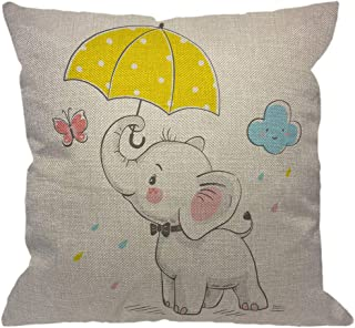 Best HGOD DESIGNS Elephant Throw Pillow Cover,Baby Elephant with Umbrella Cartoon Butterfly Pink Yellow Decorative Pillow Cases Cotton Linen Square Cushion Covers for Home Sofa Couch 18x18 inch Review