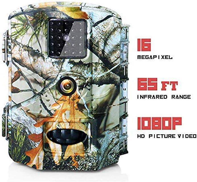 Olymbros Cámara de Caza 16MP 1080P Cámara de vigilància de la Vida SilvestreCámara de Juego de detección Nocturna sin LED de Brillo IRLapso de TiempoTemporizadorDiseño Impermeable IP65