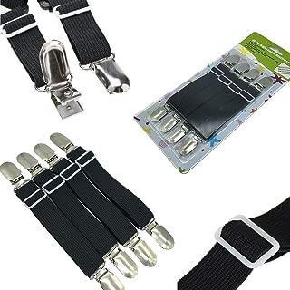 FlyingP Adjustable Bed Sheet Fasteners Suspenders Corner Holder Elastic Straps Suspenders Clips Grippers Mattress Pad Cover Suspenders Ironing Board Cover Fasteners Set of 4