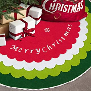 S-DEAL Christmas Tree Skirt Four Layers Non Woven Fabrics 48 Inches DIY Self-Assembled Tree Skirt for Holiday Party Home Decorations