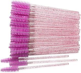 300 Pack Mascara Wands Disposable Eyelash Brushes for Extensionss Eye Lash Applicator Makeup Tool Kit, Crystal Rose/Fuchsia