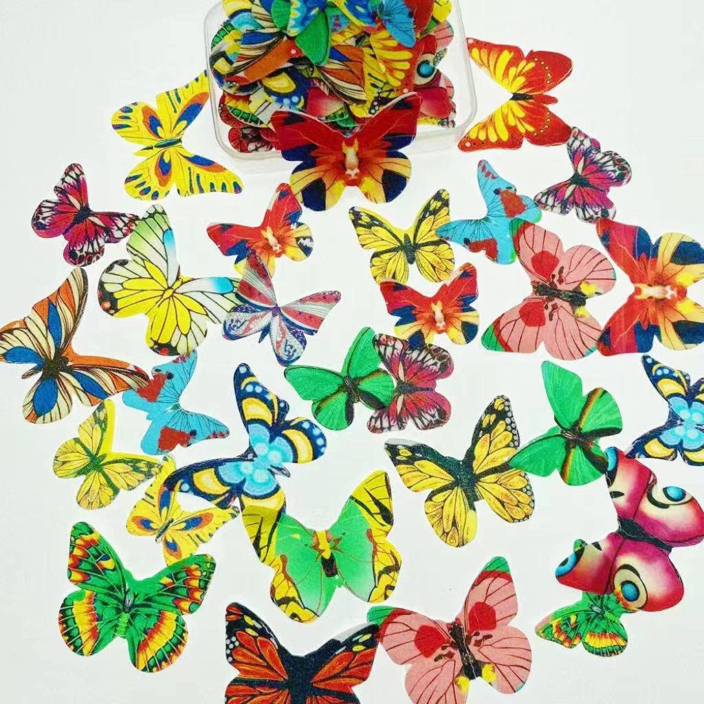 Free shipping / New Edible New sales Cupcake Decoration Butterfly 42pcs Sweet Paper 3D Me Rice