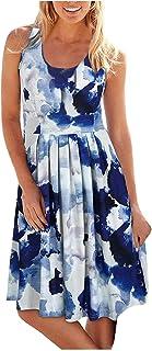 فساتين صيفية للنساء فستان صيفي كاجوال برقبة دائرية بدون أكمام مطبوعة فستان شاطئ نسائي فساتين الشمس