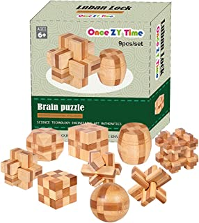 Wooden Puzzles Brain Teaser Burr Puzzles for Adults Kids - IQ Challenge Toy Mind Game Gift Set Interlocking Cube Blocks