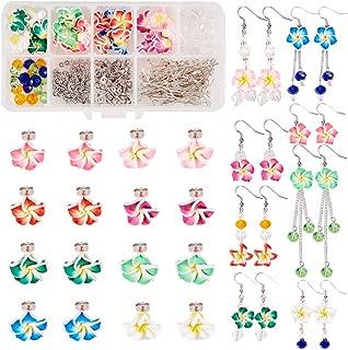 SUNNYCLUE 1 Box DIY Make 16 Pairs Polymer Clay 3D Flower Stud Dangle Earring Making Kits - Hawaiian Plumeria Floral Beads with Earring Hooks and Blank Peg Ear Stud