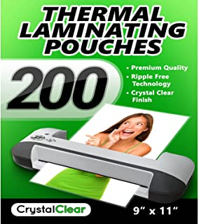 "Crystal Clear Thermal Laminating Pouches - Pack of 200 Sheets (9"" x 11.5"")"