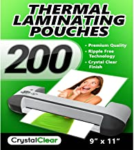 """Crystal Clear Thermal Laminating Pouches - Pack of 200 Sheets (9"""" x 11.5"""")"""