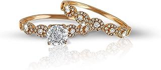 AL Liali Jewellery Women's Love Band Rings, 7 US, 0.45 Carat, Yellow
