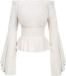 Belle Poque Womens Renaissance Gothic Blouse Bell Sleeves Ruffle Off Shoulder Boho Corset Top