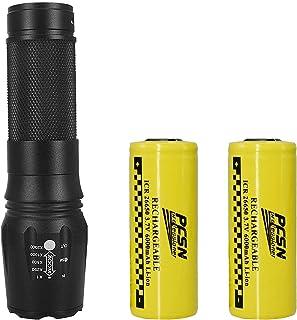 Batterie /à t/ête Plate-2 pi/èces utilis/ée pour Lampe de Poche LED 26650 Batterie au Lithium Rechargeable 3.7 v 8800 mah adapt/ée aux /équipements /électroniques Portables tels Que Lampe de Poche