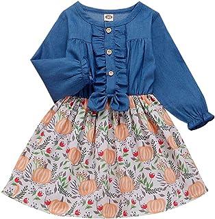 Bowanadacles Girls Denim Patchwork Dress Christmas Halloween Thanksgiving Ruffled Long Sleeve Cute Printed Kids Outfits