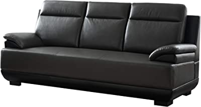Benjara Leatherette Wooden Frame Sofa with Pillow Top Armrests, Black