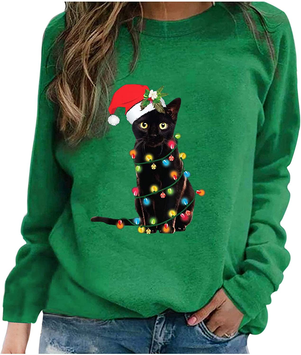 Quealent Christmas Sweatshirt for Women Fashion Funny Graphic Printed Long Sleeve Crew Neck Sweatshirt Pullover Tops