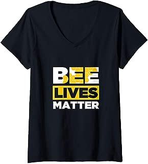 Womens Bee Lover Gift Bee Lives Matter V-Neck T-Shirt
