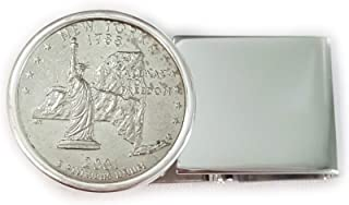 Flintski Jewelry US State Quarter Sterling Silver/Rhodium Plate Hinged Back Money Clip Random Dates