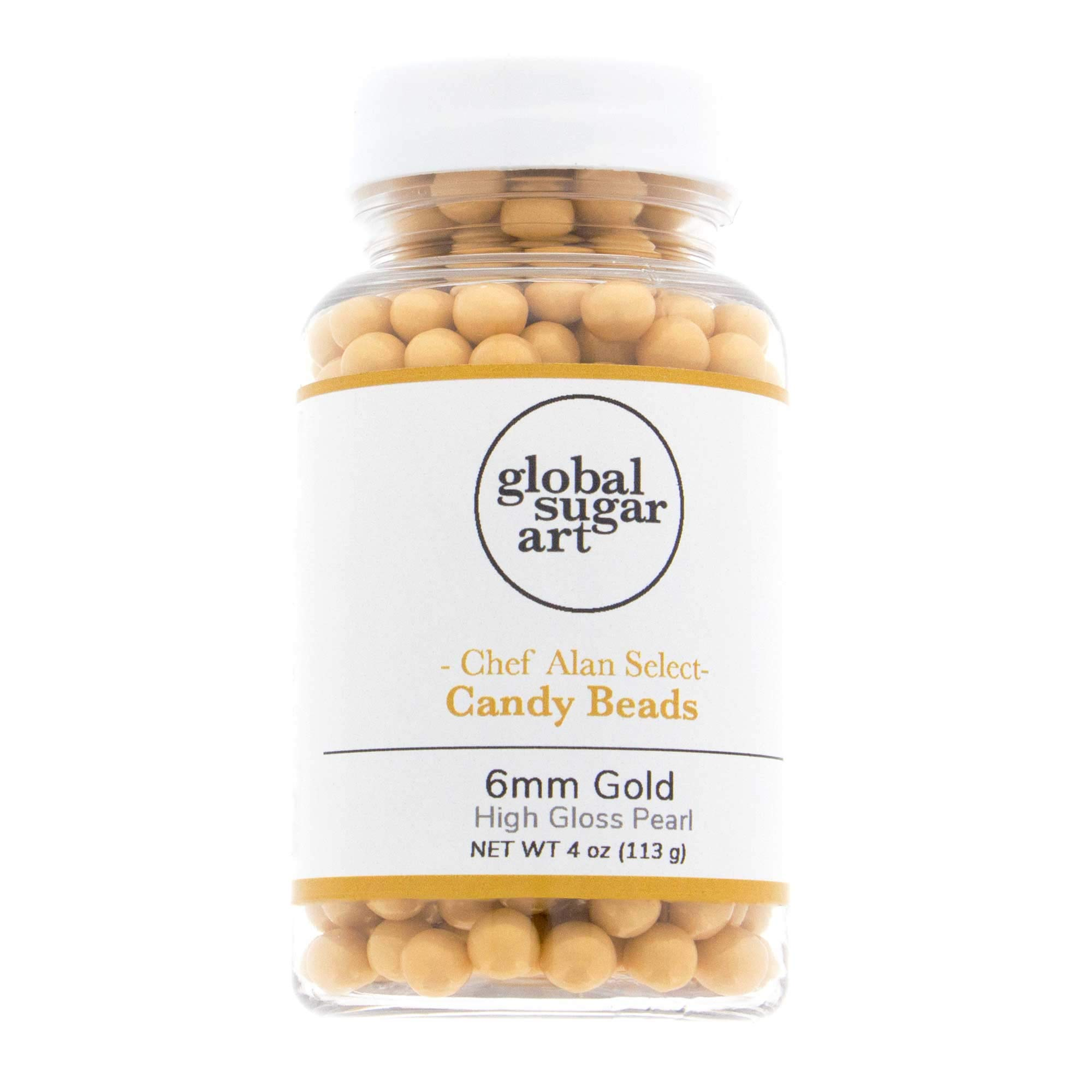 Gold High Gloss Pearl Candy Beads 6mm, 4 Ounces by Chef Alan Tetreault