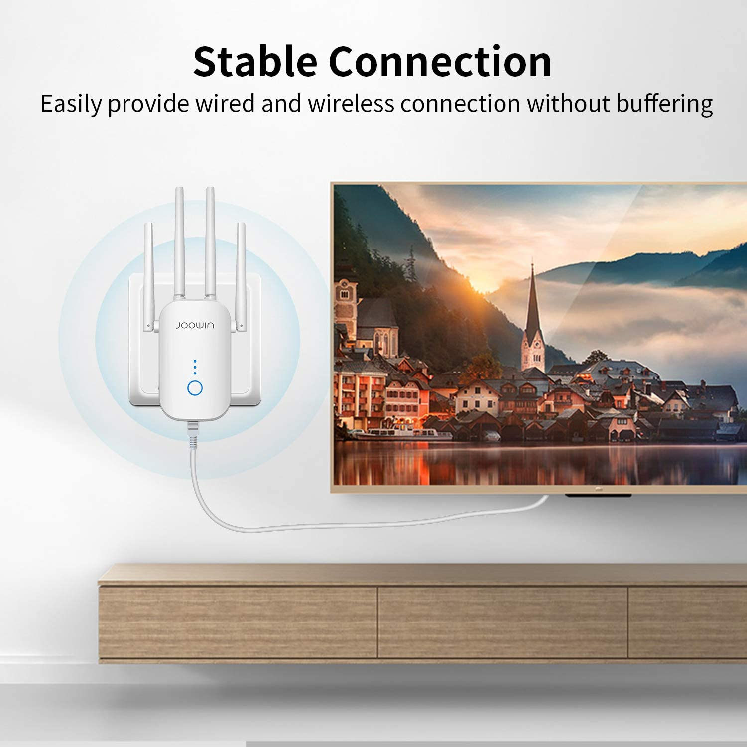 Compatible with Home Smart WiFi Devices with Ethernet Port JOOWIN WiFi Extender 1200Mbps WiFi Range Extender 2.4GHz//5.8GHz Dual Band WiFi Signal Booster Wireless Repeater//Access Point//Router Mode