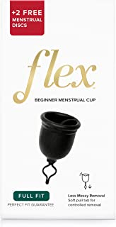 FLEX Menstrual Cup Starter Kit - Reusable Period Cup & Disposable Menstrual Disc - Easy Removal Ring - Large - Black