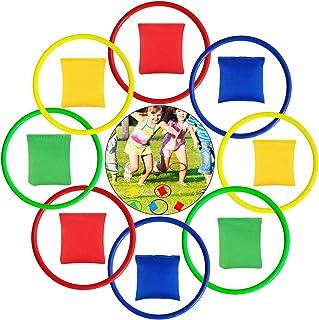 LATERN 16 st nylon bönpåsar och plastringar, flerfärgade kastspel set för barn bönpåse kasta spel trädgård bakgård utomhus...