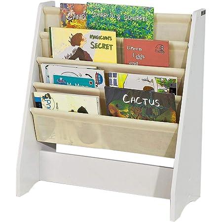 SoBuy Librería Infantil para Niños con 4 Estanterías, Estantería Estándar Infantil,Blanco/Beige,H71cm, FRG225-W,ES