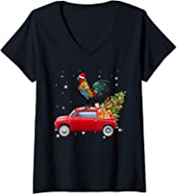 Womens Chicken With Santa's Hat Riding Red Truck-Chicken Christmas V-Neck T-Shirt