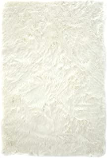 Home Must Haves White Faux Fur Sheepskin Area Rug (5' x 8')