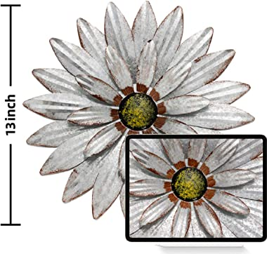 YEAHOME Metal Flower Wall Decor - 13'' Outdoor Wall Art Backyard Decorations Farmhouse Decor Hanging for Kitchen, Liv