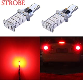 Alla Lighting 2600lm 912 921 Strobe LED Bulbs Xtreme Super Bright 4014 48-SMD W16W T10 T15 Flashing Backup Reverse Brake Stop Light, Red