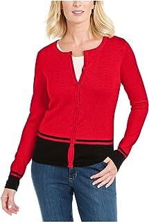 KAREN SCOTT Womens Red Printed Long Sleeve Jewel Neck T-Shirt Evening Top Petites US Size: PS