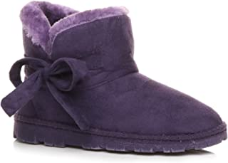 Ajvani Women's Fur Lined Ankle Boots Slippers Size