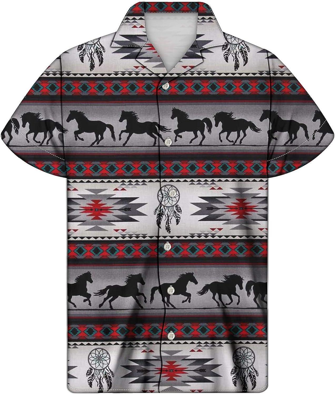 UNICEU Men's Tribal Print Aloha Shirt Short Sleeve Button Down Mandala Printed Shirts - Size 2X-Small - 4X-Large