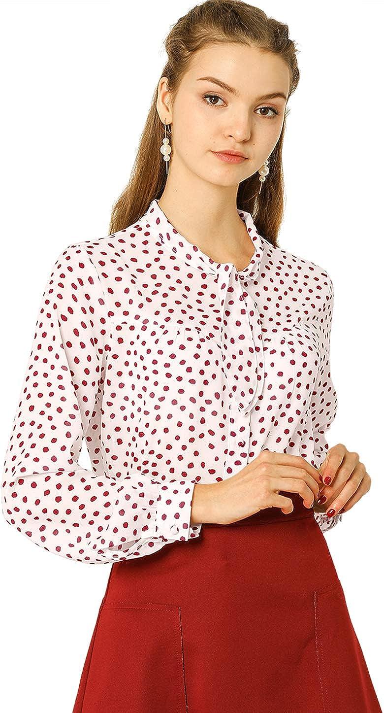 Allegra K Women's Polka Dots Vintage Blouses Button Down Long Sleeve Shirt