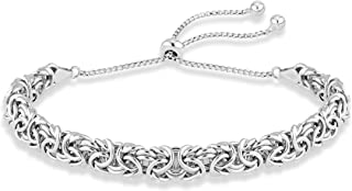 MiaBella 925 Sterling Silver Italian Byzantine Adjustable Bolo Link Chain Bracelet for Women 925 Italy