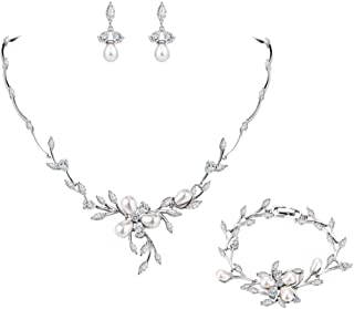 EVER FAITH Marquise CZ Simulated Pearl Bridal Flower Leaf Filigree Necklace Earrings Bracelet Set