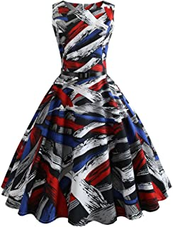 DongDong Dress Vintage Printing Women Bodycon Sleeveless Casual Evening Party Prom Swing Dress