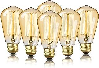 لامپ های ادیسون 6 پکیج ، لامپهای ادیسون EdStar Edison ، لامپهای آنتی بادی Vintage ، 60W ، 2200K کهربا گرم ، 230 لومن ، 110 ولت ، E26 ، ST58 Dimmable چراغهای ادیسون برای وسایل روشنایی خانگی و تزئینی