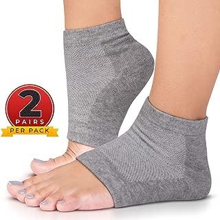 CareMe+ Moisturizing Socks for Cracked Heel & Dry Feet Treatment Overnight Spa - Finally Softening Dry Cracked Heels - Super Comfortable Vented Cotton Heel Gel Socks - (2 Pack, Grey)