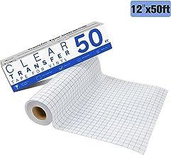 "JANDJPACKAGING Transfer Tape for Vinyl - 12"" x 50 FT w/Blue Alignment Grid for Adhesive Vinyl- Medium Tack Vinyl Transfer Tape of Silhouette Cameo, Cricut"