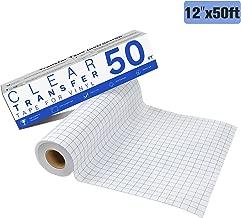 "JANDJPACKAGING Transfer Tape for Vinyl - 12"" x 50 FT w/Blue Alignment Grid for Adhesive Vinyl- Medium Tack Vinyl Transfer Tape for Silhouette Cameo, Cricut"