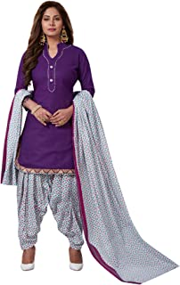 S SALWAR STUDIO Women's Purple & White Cotton Printed Readymade Salwar Suit(SSCELEBRATION-924_Size-L,XL,XXL)