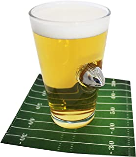 Football Pint Glass with Metal Football Crashing Through - 16oz. Football Beer Glass | For Tailgates or Super Bowl Parties
