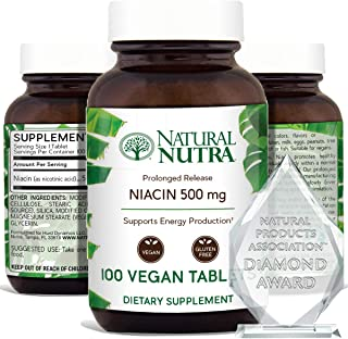 Natural Nutra Time-Release Slow Niacin 500mg (Vitamin B3) with Nicotinic Acid, Cholesterol Supplement, Energy Production, ...