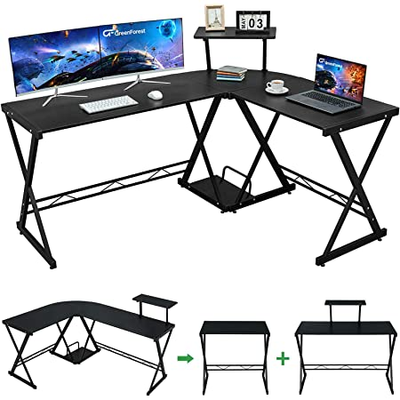 "GreenForest L Shaped Desk 58"" Reversible Corner Computer Desk with Movable Shelf and CPU Stand, Gaming Desk with Sturdy X Leg Space Saving Home Office Workstation Table, Black"
