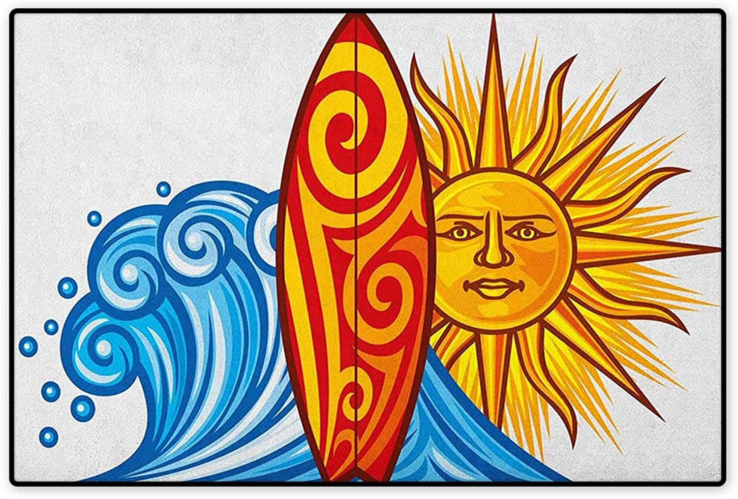 Ride The Wave,Door Mat Indoors,Ocean Wave with Sun and Surfboard Lifestyle Summer Freedom Image,Indoors Doorroom Mats Non Slip,Vermilion Yellow bluee,Size,32 x48  (W80cm x L120cm)