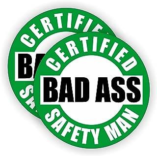 Bad Ass Safety Man Hard Hat Sticker / Helmet Decal Label Lunch Tool Box Safe Worker