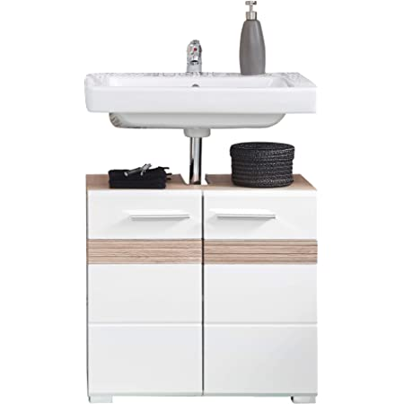 trendteam smart living Meuble Sous-Vasque pour Salle de Bain Amanda, 60 x 56 x 34 cm Aspect du Corps du Meuble: Chêne Clair San Remo (Nb.)