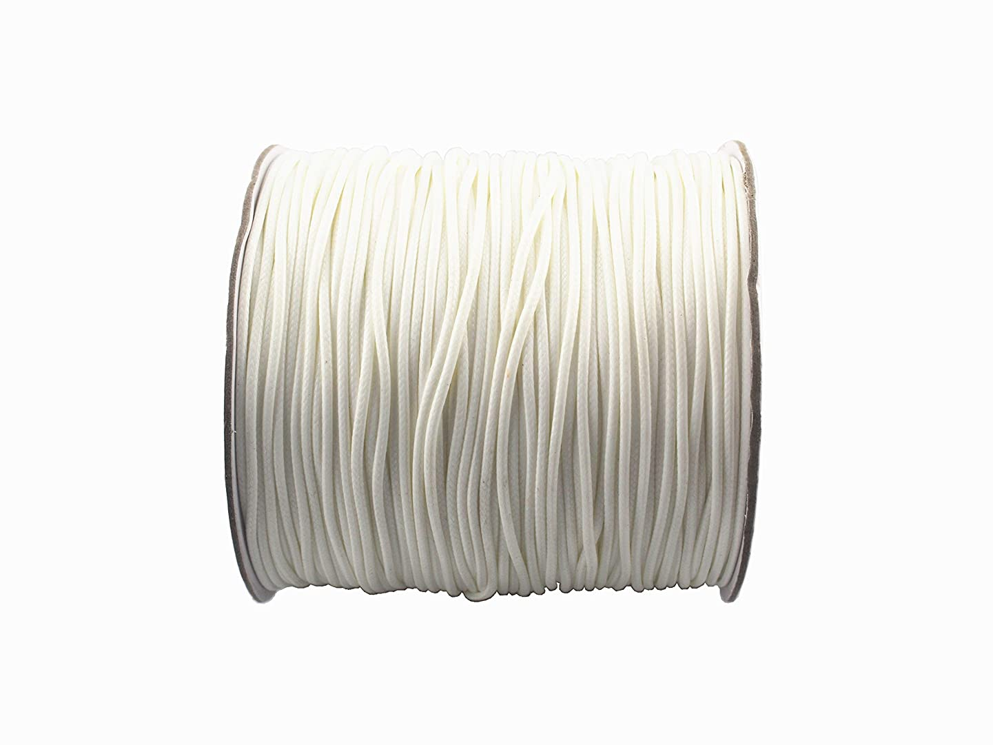 QIANHAILIZZ 200 Yards 1.5 mm Waxed Jewelry Making Cord Waxed Beading String Craft DIY Thread (White)