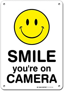 Surveillance Camera Warning 'Smile You're On Camera Sign', Made Out of .040 Rust-Free Aluminum, Indoor/Outdoor Use, UV Pro...